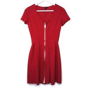 Maje Datypic red stretch fit & flare zipper dress